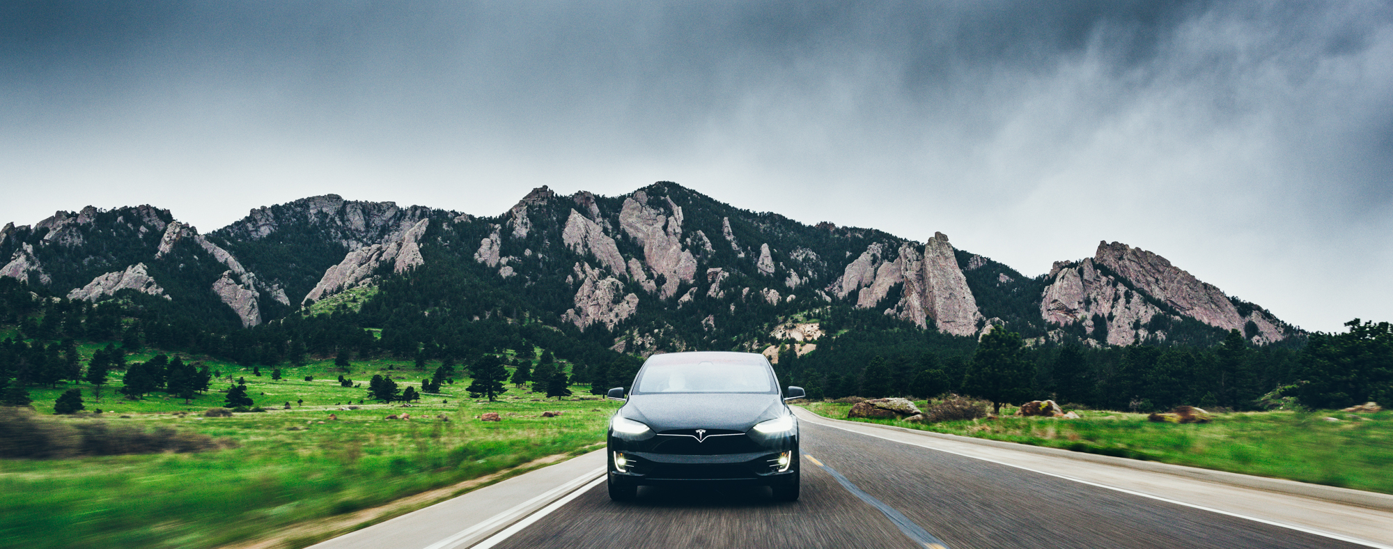 Tesla Model X Driving - Greg Mionske - Advertising and Editorial Photographer in Denver